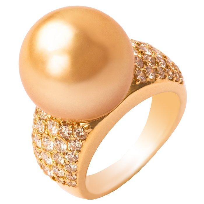 【JHT金宏總珠寶/GIA鑽石專賣】1.40ct古典天然南洋黃金珍珠戒指/材質:18K(JB53-A03)