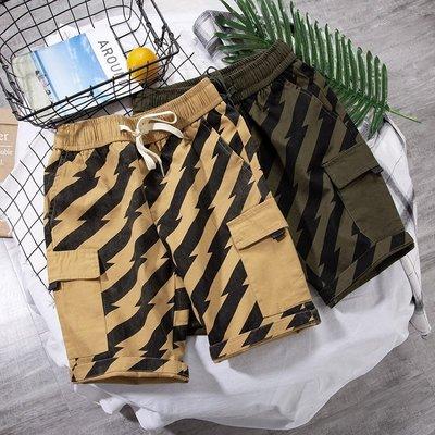 『哈尼』M-3XL 19潮流款式直筒五分褲 男士百搭休閑短褲 沙灘褲