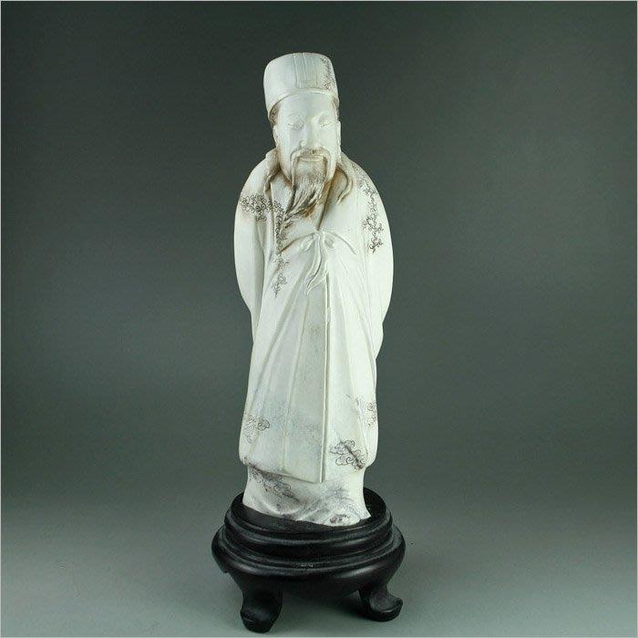 批發價~~國寶壽山石精品擺件---- 瓷白芙蓉石  『孔明』工细 特色 精品