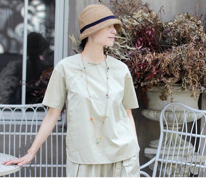 【子芸芳】原著夏季奶油灰綠色絹絲棉中式斜襟盤扣寬鬆套頭衫茶服