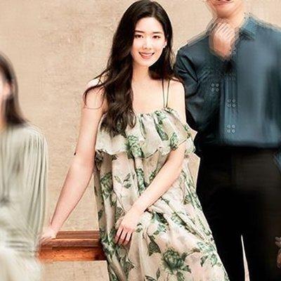 預購-韓劇同款The King 永遠的君主鄭恩彩具瑞怜同款夏季荷葉邊一字領印花連身裙