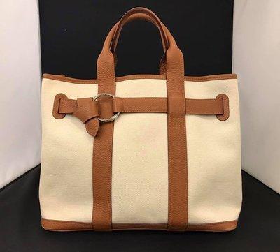 【RECOVER 名品二手】HERMES 米色帆布接焦糖色皮革手提包 .100% 愛馬仕 真品 . 965-36