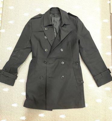 [ 日本 COMME CA MEN ] 頂級經典雙排扣黑色風衣/外套/大衣 (Burberry類似款)