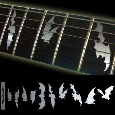 園之屋 現貨 日本 Inlay sticker 金屬色 蝙蝠 指板貼紙 民謠吉他 電吉他 貝斯 移除簡單不傷漆面