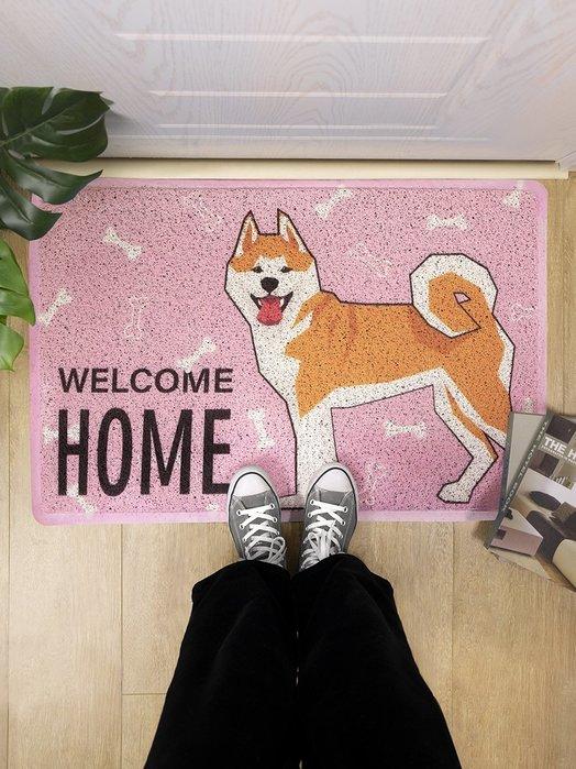 可愛柴犬地墊進門絲圈地毯入戶門廳門口玄關蹭灰腳墊狗狗門墊