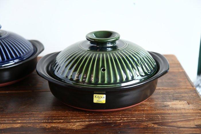 發現花園 日本選物~日本製 銀峰 砂鍋 菊花鍋 ~ 9號 橄欖綠
