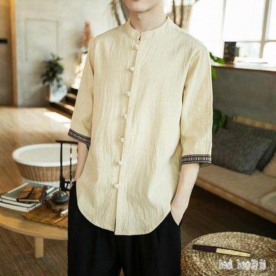 大尺碼中國風男唐裝五分袖盤扣短袖襯衫復古寬鬆半袖漢服唐裝青年 QG22826