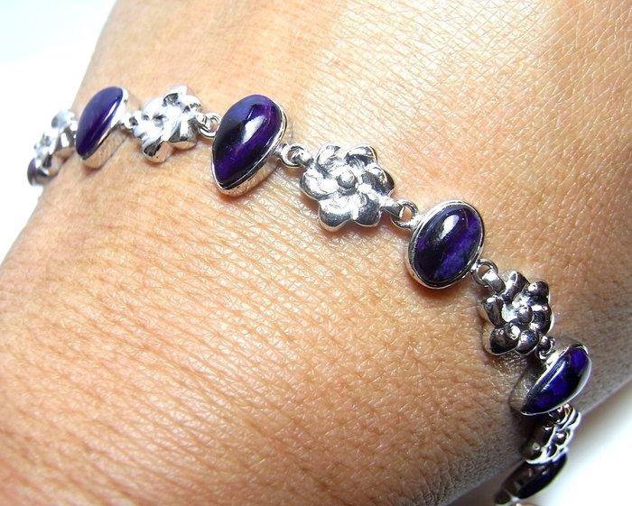 小風鈴~純天然頂級皇家紫舒俱徠石寶石925銀白K包框手鍊 ~ 小手圍14cm