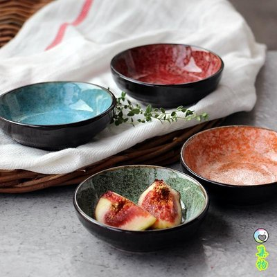 外貿復古四色斑駁花色小碟醬料碟醋碟子調味碟咸菜碟高品質餐具