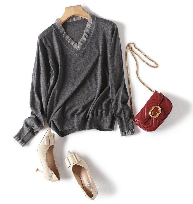 精品款-羊毛拼接歐根紗面料手感輕柔懸垂針織衫