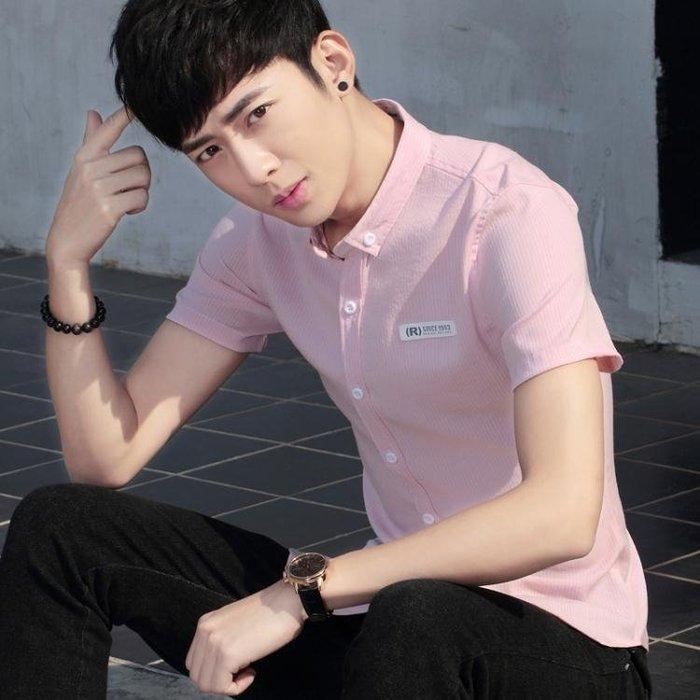短袖條紋襯衫男夏季休閒修身個性學生條紋襯衣t361