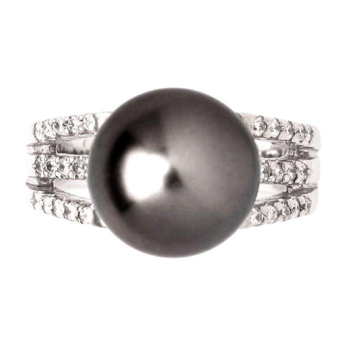 【JHT 金宏總珠寶/GIA鑽石專賣】11.3mm天然黑珍珠戒指/材質:14K(KBP02-1882_PP00003)