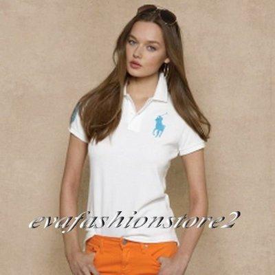【Polo Ralph Lauren】Women 美麗繡藍色大馬數字3白色網眼POLO衫(S號)~現貨在台~