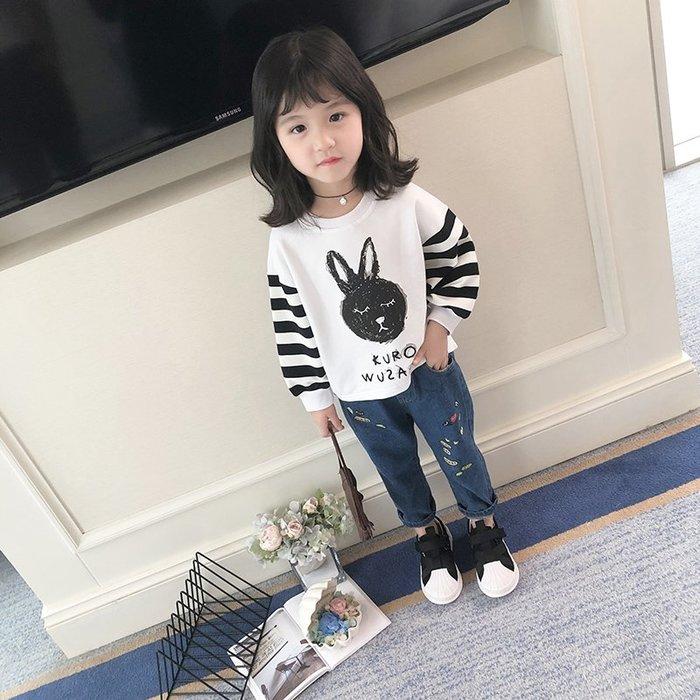 童裝女童衛衣2019春裝新款洋氣兒童條紋卡通上衣時尚韓版女孩T恤