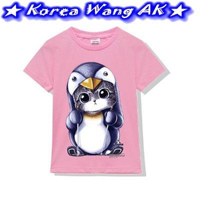 Korea Wang AK ~(預購)台灣原創獨家設計 純棉 限定版滑雪企鵝貓兒童青少年版T 單件459元【PI463】