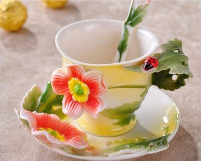 5Cgo【鴿樓】會員有優惠 10449434320 陶瓷咖啡杯子 一杯一碟一勺 婚慶禮品 花開物語