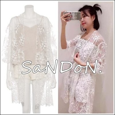 山東:日本品牌SNIDEL 刺繡蕾絲立體雕花花朵罩衫花邊透明感外套 MOUSSY SLY 160421