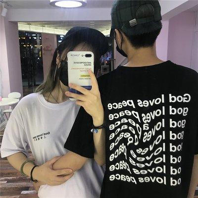 2018新款情侶裝字母印花旋轉創意學生原宿bf潮寬松百搭 短袖T恤女