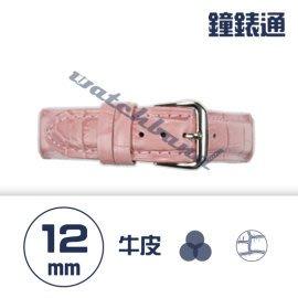 【鐘錶通】C1.07KW《繽紛系列》鱷魚壓紋-12mm 櫻花粉┝手錶錶帶/高質感/牛皮錶帶┥