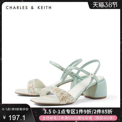涼鞋CHARLES&KEITH女鞋CK1-60361261一字帶方頭高跟涼鞋拖鞋