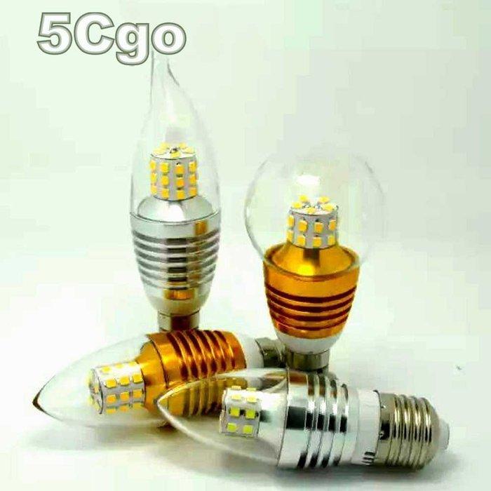 5Cgo【權宇】超亮LED蠟燭燈泡E12 E14 E27螺紋5W 7W 9W 12W 15W尖拉尾圓水晶燈泡金銀白黃含稅