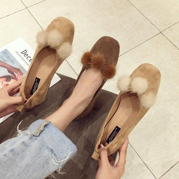 單鞋女秋冬新款百搭韓版復古仙女淺口粗跟中跟瑪麗珍鞋
