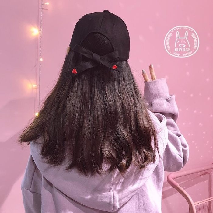 全館免運-韓版百搭休閒鴨舌帽少女帽子刺繡愛心蝴蝶結棒球帽 【MISS ANNA】