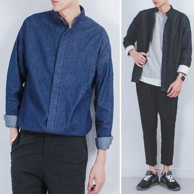 原創青少年男士寬松長袖襯衫韓國潮學生復古水洗立領牛仔上衣外套