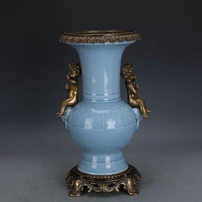 ㊣姥姥的寶藏㊣ 大清乾隆回流瓷鑲銅青釉雕刻花觚瓶手工官窯  古瓷古玩古董收藏品