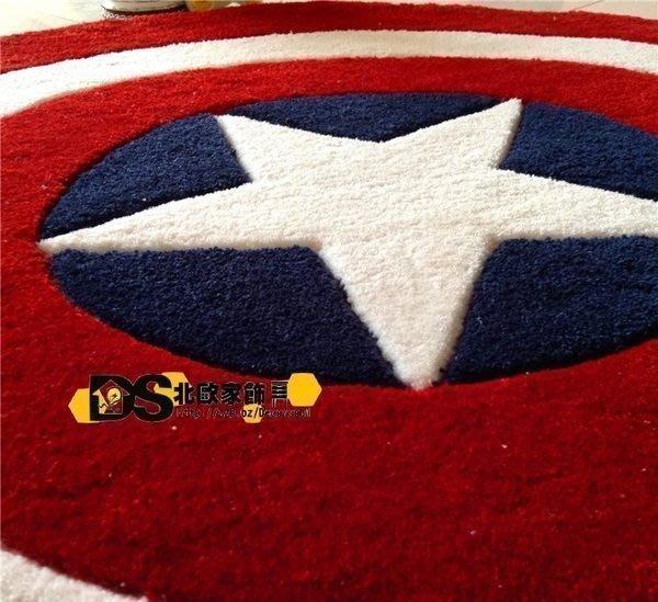 DS北歐家飾§ loft 美國隊長盾牌圓形地毯 復仇者聯盟客廳腳墊 120cm 美式鄉村潮流設計超人浴室 大號訂製尺寸