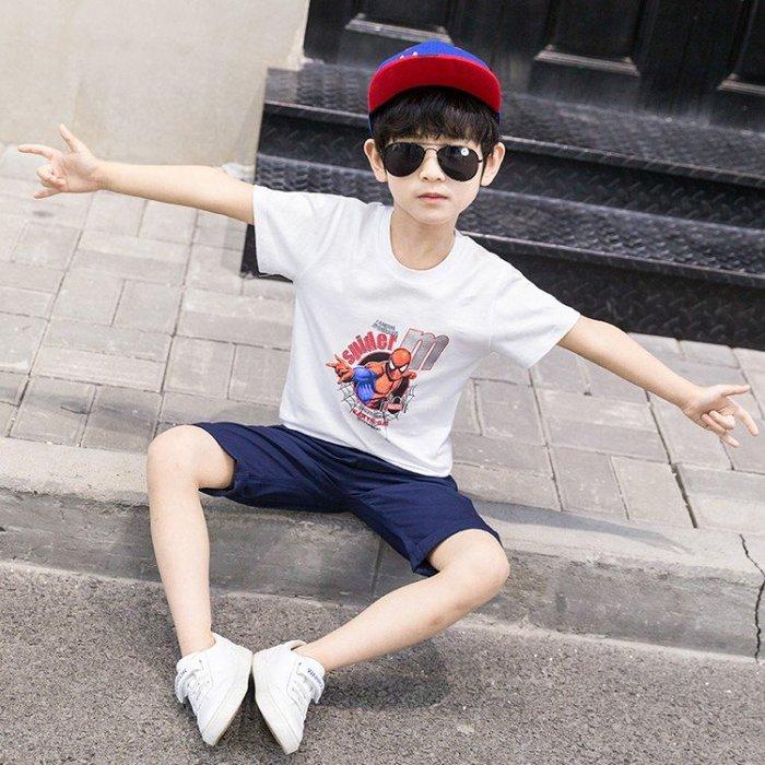 【男童套裝】男童套裝 夏天新款小男孩兩件套 漫威超人系列蜘蛛俠套裝 卡通印花T恤+休閒運動褲兩件套 大童 男寶寶套裝夏季SF54145