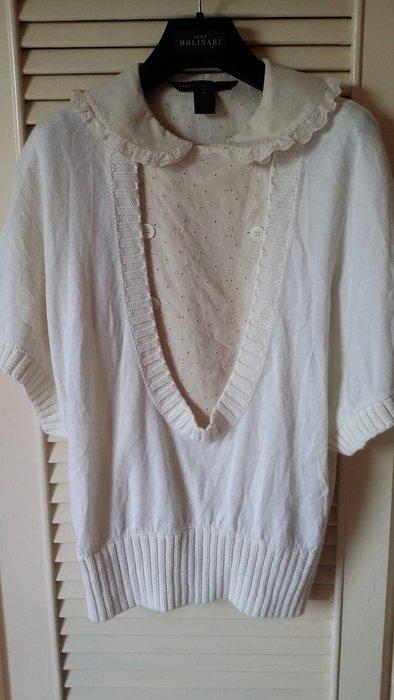 iBLUES 米白色大U領小羊毛針織罩衫