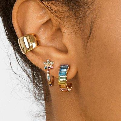 小米粒飾品~歐美風新款簡約百搭C型耳環 超閃彩鉆花朵耳骨夾Bauble同款耳飾女
