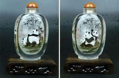 國寶熊貓水晶內畫鼻煙壺中國特色手工藝品創意禮品送長輩商務 壺說133