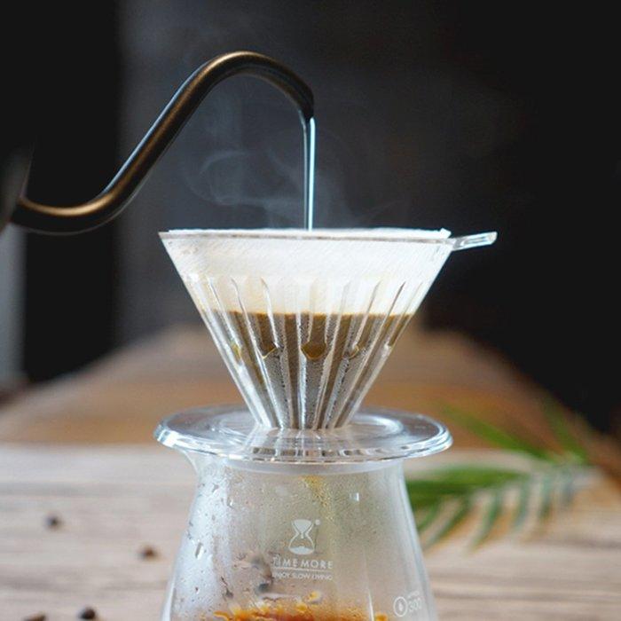 TIMEMORE泰摩冰瞳手沖咖啡套裝組-(玻璃分享壺360ml+PC濾杯00號1人份)