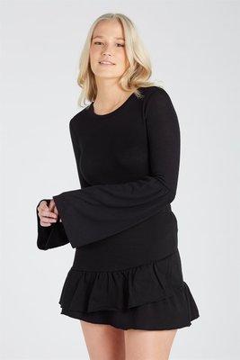 朵拉媽咪【全新】現貨 澳洲 專櫃品牌 SUPRE 黑色 棉質 荷葉裙 彈性短裙 黑色短裙 黑色棉裙 短裙 裙 迷你裙