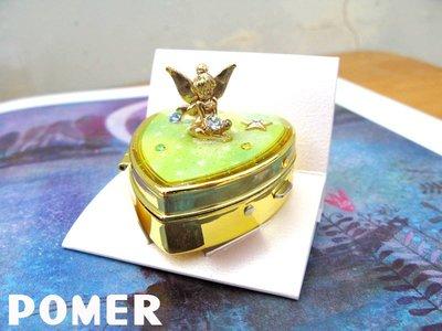 ☆POMER☆ Disney store正品已絕版 小飛俠彼得潘 小精靈 精緻耳環X超美水鑽愛心附鏡金色珠寶盒 首飾盒