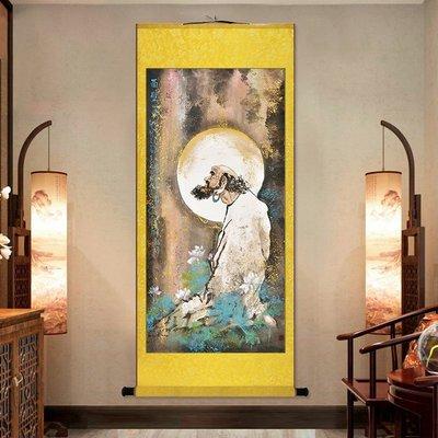 【睿智精品】達摩祖師絲綢掛畫 絲綢卷軸掛畫 客廳掛畫 玄關掛畫(GA-4420)