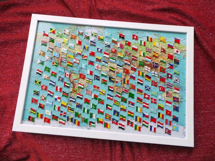 【衝浪小胖】世界地圖200款國旗徽章組合/胸章/胸針/別針/勳章/獎章