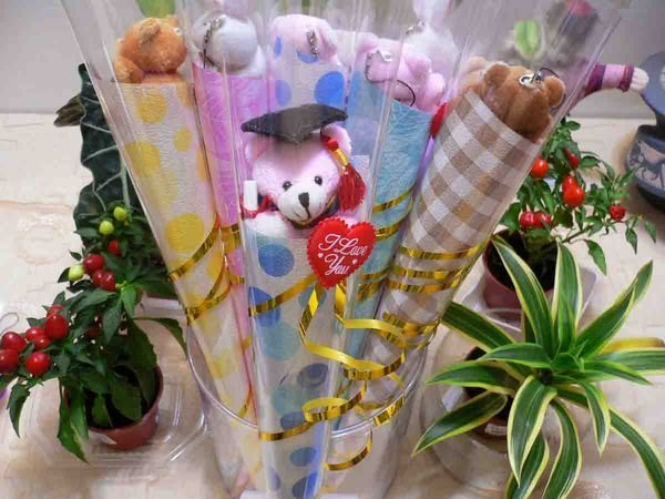微笑學士熊甜筒花束~畢業熊~手機吊飾~紅穗學士帽+畢業證書~贈品~幼稚園畢業花束~