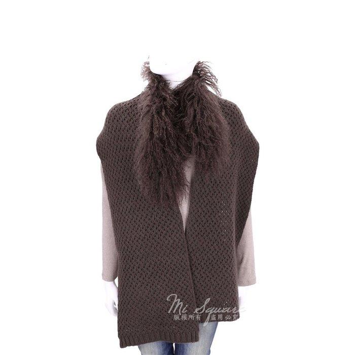 米蘭廣場 ALLUDE 咖啡色網狀針織拼接毛領羊毛圍巾(70%WOOL) 1640316-C7