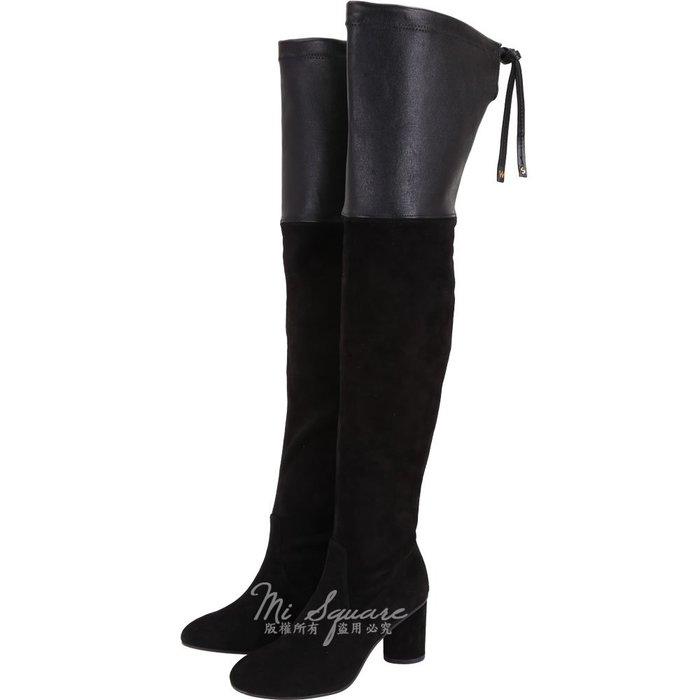 米蘭廣場 Stuart Weitzman HELENA 75 皮革拼接抽繩過膝長靴(黑色) 1910042-01