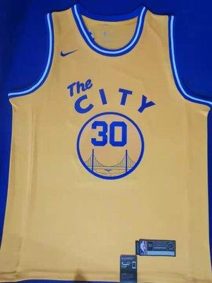 史蒂芬·柯瑞(Stephen Curry) NBA金州勇士隊 球衣 30號 城市版 黃色