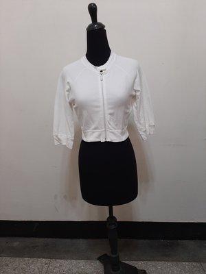 九成新~ A/X ARMANI EXCHANGE  棉質 白色 七分袖 短外套  尺寸: S ( 有瑕疵 如照片3.)
