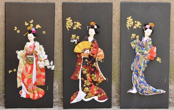 掛畫 壁畫 日本藝妓人偶版畫日式浮世繪立體掛畫無框畫家居裝飾畫人物畫