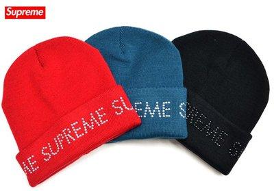【超搶手】全新正品 2016 最新款 Supreme Studded Beanie 字體 反摺毛帽 黑 白 紅 藍 黃