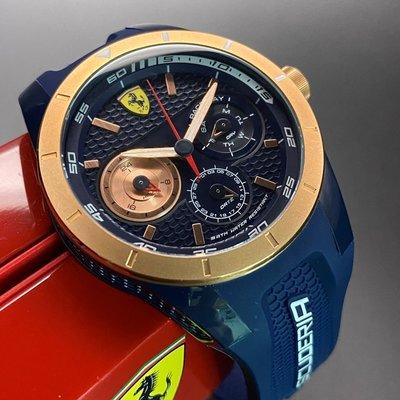 FERRARI法拉利男錶,編號FE00011,44mm玫瑰金, 寶藍圓形精鋼錶殼,寶藍色三眼錶面,寶藍矽膠錶帶款