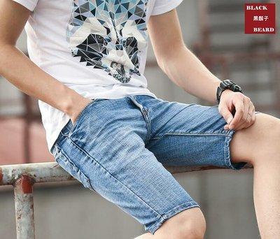《BBD.黑鬍子》【嚴選】水洗刷白工藝率性風格.夏日彈力立挺丹寧牛仔短褲【M~6XL】【98808】