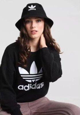 FOCA ☆ ADIDAS ORIGINALS 愛迪達 基本款 黑白 女 大LOGO 三葉草 漁夫帽 黑色 BK7345