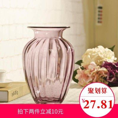 千禧禧居~西貝家居  歐式透明玻璃花瓶  現代時尚花器 小浮雕餐桌花插擺件